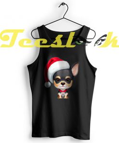 Tank Top Black & Tan Chihuahua Wearing a Santa Hat