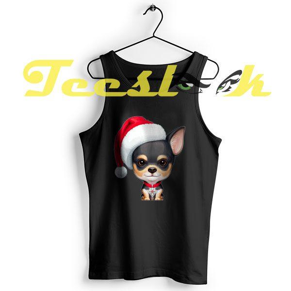 TankTop Black & Tan Chihuahua Wearing a Santa Hat