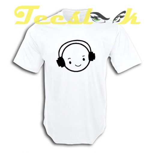 Happy Face DJ Funny smiley Face headphones tees shirt