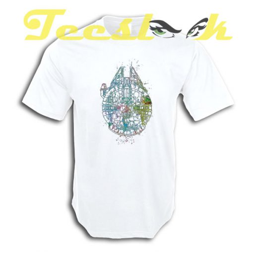 Millenium Falcon Painted Schematic tees shirt