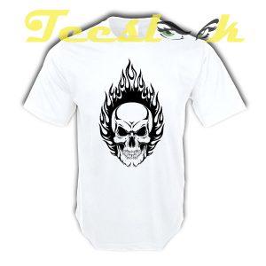 Human Skull Flames tees shirt