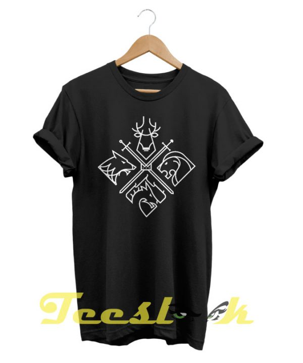 Game Of Thrones Houses and Characters tees shirt
