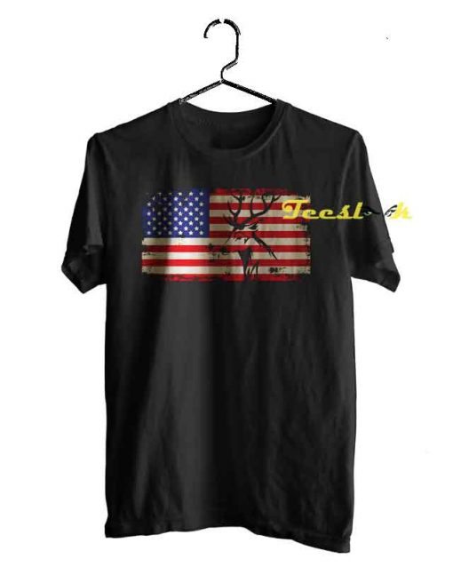 Deer Hunting And America Flag Tee shirt